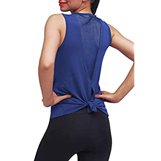 Mippo Workout Tops for Women Yoga Tops Tie Back Workout Tennis Hiking Yoga Shirts Athletic Exercise Racerback Tank Tops Loose Fit Muscle Tank Exercise Gym Running Tops for Women Navy Blue S