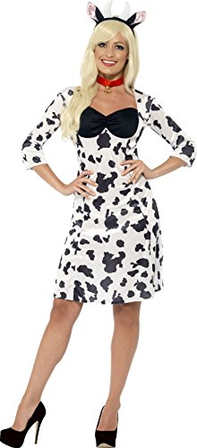 Smiffy's Women's Cow Costume, Dress, Headpiece and Choker, Party animals, Serious Fun, Size 10-12, (Cow Costumes)