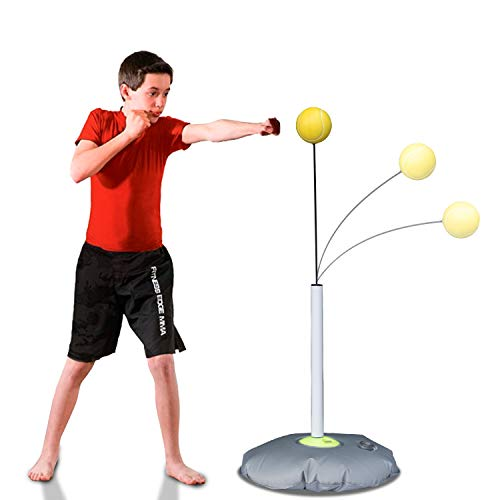 SYNTECSO Boxing Reflex Ball, Kids Punching Ball and Boxing Speed Ball with Two Fight Balls for MMA Punching Speed and Fight Reactions Training and Stress Relief