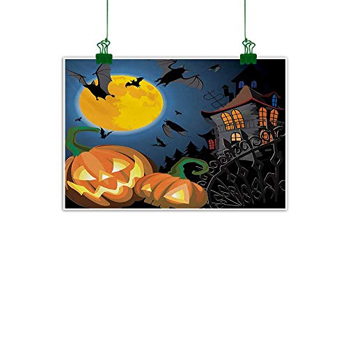 Unpremoon Halloween,Oil Painting Gothic Halloween Haunted House Party Theme Design Trick or Treat for Kids Print for Sofa Wall Decoration No Frame Multicolor W 32