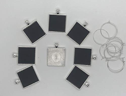 Simply Remarkable Reusable Personalized Wine Charms - 8 Mini Chalkboard Squares on Silver Plated Pendants, Can be Wiped Clean and Reused