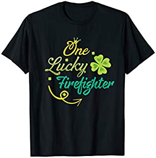 Birthday Gift One Lucky Firefighter  St Patricks day Firefighter Short and Long Sleeve Shirt/Hoodie