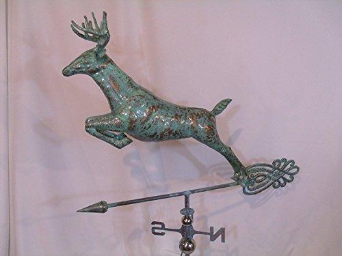 FurnitureBarnUSA XLarge Handcrafted 3 Dimensional Jumping Deer Weathervane Copper Patina Finish