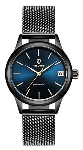 - Luxury Brand Women Automatic Mechanical Bracelet Watch Ladies Waterproof Steel Dress Wrist Watches (Blue)