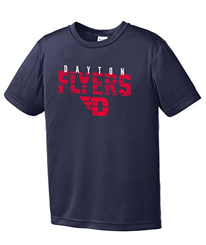 NCAA Dayton Flyers Youth Boys Destroyed Short sleeve Polyester Competitor T-Shirt, Youth Small,Navy