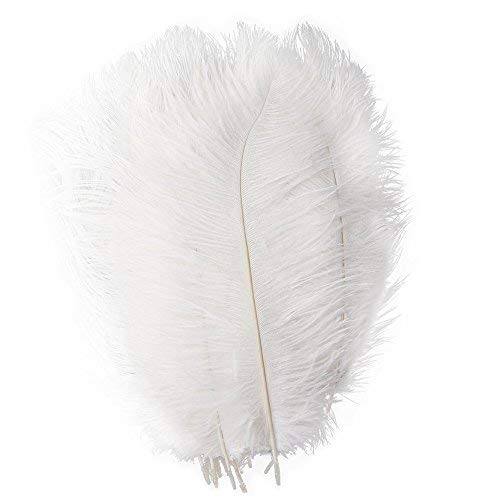 Piokio 20 pcs White Ostrich Feathers Plumes 12-14 inches(30-35 cm) in Bulk for Wedding Party Centerpieces Gatsby Decorations