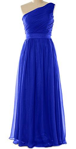 MACloth Women One Shoulder Chiffon Long Bridesmaid Dress Wedding Party Gown Azul Real