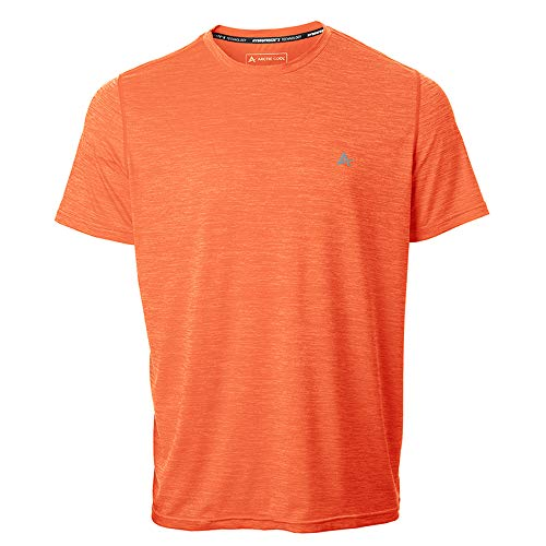 Arctic Cool Men's Crew Neck Instant Cooling Short Sleeve Shirt Performance Tech Breathable UPF 50+ Sun Protection Moisture Wicking Comfortable Athletic Gym Quick Drying, Charged Coral Twist, XXXL
