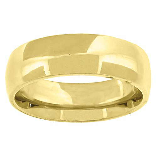 14kt Gold Unisex Dome Polished Comfort-fit 6mm-Size 13 Wedding Engagement Band Ring ()