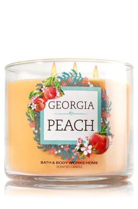 Bath and Body Works 14.5 Oz 3 Wick Candle Georgia Peach - Peach Bath