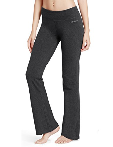 Baleaf Women's Yoga Bootleg Pants Inner Pocket Charcoal Size M