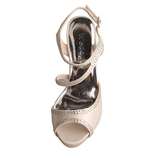 Sandals Satin Women Party Wedopus Heel Wedding Toe Open Strappy Buckle Ivory High Rhinestones PggSZ8