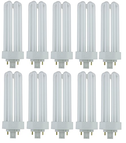 Pack of 10 PLT 26W GX24q-3 841, 26 Watt Triple Tube, 4 Pin Compact Fluorescent Light Bulb ()