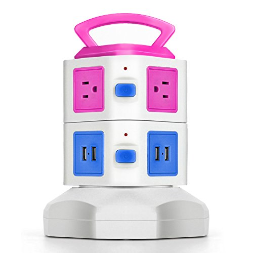 (TNP Power Strip with USB Surge Protector - Charger Station Power Supply Adapter Multi Socket Plug Powerstrip Bar Stand Tower, 6FT Extension Cord (6 AC Outlet + 4 USB Port, Pink & Blue))