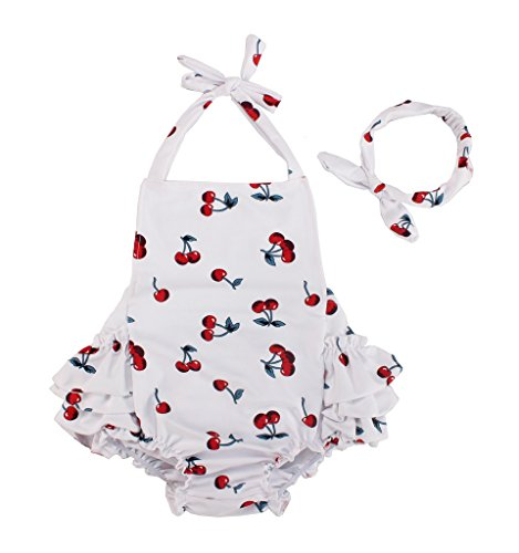 Baby Girl Cherry Pattern Cotton Outfits Suits Rompers With Headband (0-6 Month,White)