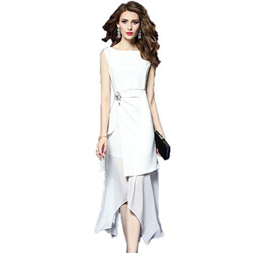 Cotylédons Women`s Robes De Robe Irrégularité De Couleur Unie De Robe Blanche Sans Manches