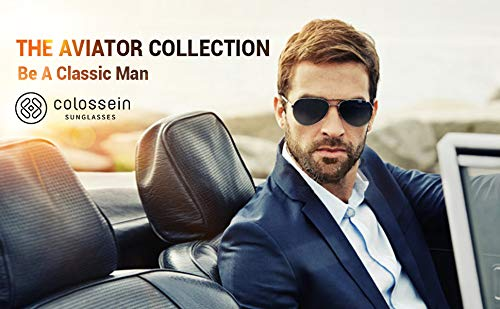 Aviator Polarized Sunglasses for Men Stainless Steel Frame with Handcrafted Legs UV400 Lenses Driving Outdoor Eyewear