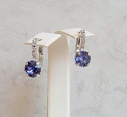 Blue Purple 8MM Round Crystal Lined Leverback Earrings Simulated Tanzanite December Birthstone Gift Idea RP (Womens Tanzanite Earring)