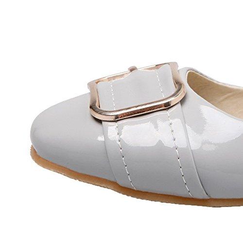 Amoonyfashion Femme En Cuir Verni Solide Sans Talon Pompes-chaussures Gris