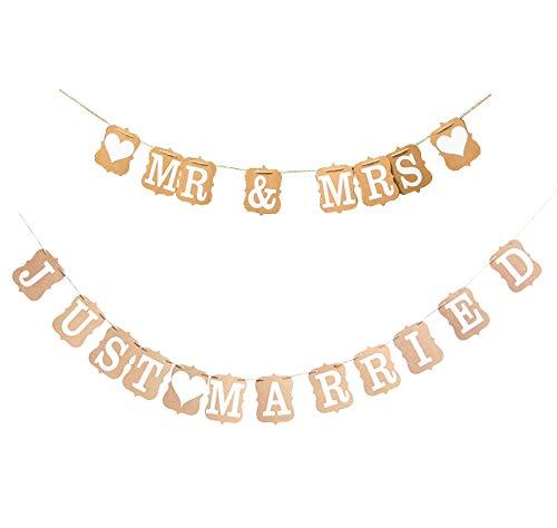 rosepartyh Recién Casados Banner Bunting y Mr Mrs Banner Garland para la Boda Decoración del Coche Despedida de Soltera Compromiso de la Foto Accesorios de Regalo de Boda para recién Casados