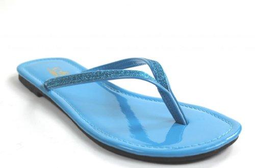 Kali Chaussures Femmes Focus Glitter Flip Flops Turquoise
