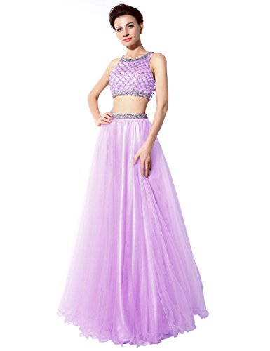 Belle House A Line Sequins Beaded Evening Gown Lilac Prom Dresses