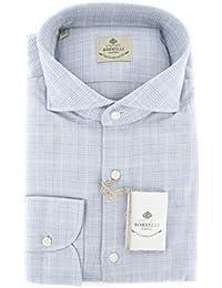 New Borrelli Light Blue Plaid Extra Slim Shirt