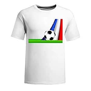 Custom Mens Cotton Short Sleeve Round Neck T-shirt,2014 Brazil FIFA World Cup Soccer France white
