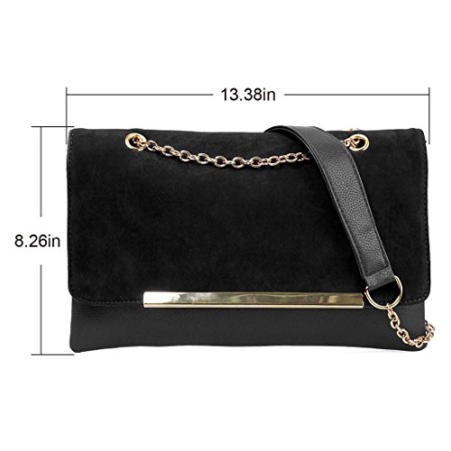 Accent Faux Style Black Gold Suede Clutch Envelope Leather Noir BMC Metal Handbag Chain 8Y4Cdw7q