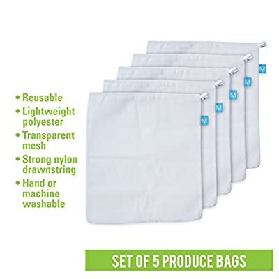Reusable & Washable Grocery Produce Bags - Set of 5 Eco-Friendly, Lightweight Nylon Storage Bag For Fruit & Vegetable