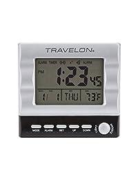 Travelon Large Display Travel Alarm Clock, Silver, One Size