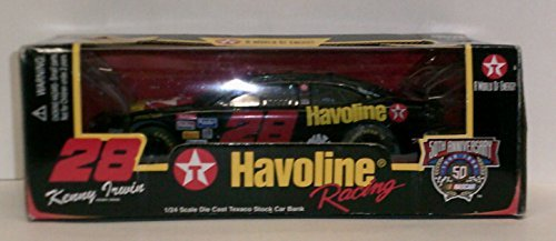 - Nascar 50th Anniversary Limited Edition 1998 Kenny Irwin #28 -1/24 Scale Die Cast Texaco Stock Car Bank