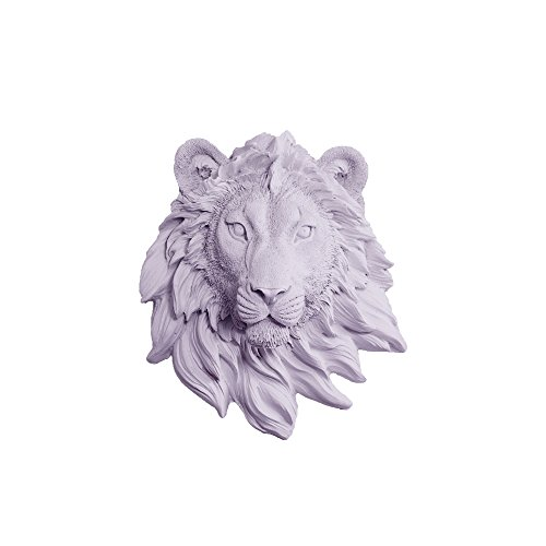 Wall Charmers Lion Mini in Lavender - Faux Head Bust Mounted Fauxidermy Decorative Purple Fake Resin Animal Replica Mount Taxidermy Decor
