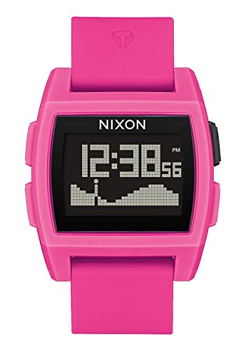 Nixon Base Tide Punk Pink Resin Men's Surf Watch with Silicone Band (38mm. Black Face/Punk Pink Resin Silicone Band)