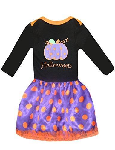 Girls Halloween Costumes Dress Pumpkin Cotton Top + Dot Skirt (6T,black) (Girl Halloween Costume Dress)