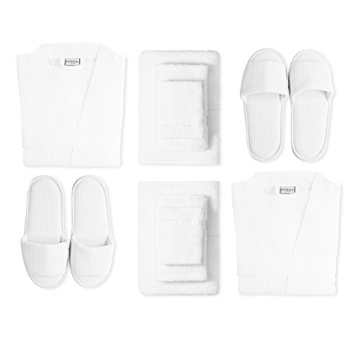 Luxor Linens Luxury 100% Cotton Giovanni Spa Set - Robe, Slippers & 3-Piece Towel Set - 2 Sets - Perfect for a Relaxing Spa Day at Home!