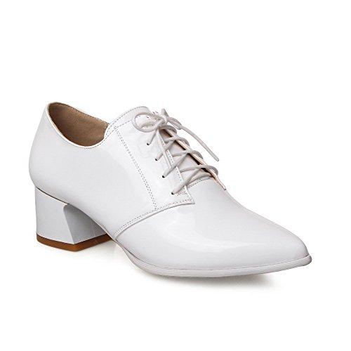 Bianca Chiusa scarpe Bassa Amoonyfashion Punta A Verniciata Punta Pelle Talloni Delle Lace Up Solidi Donne Pompe F0qZUwpx7