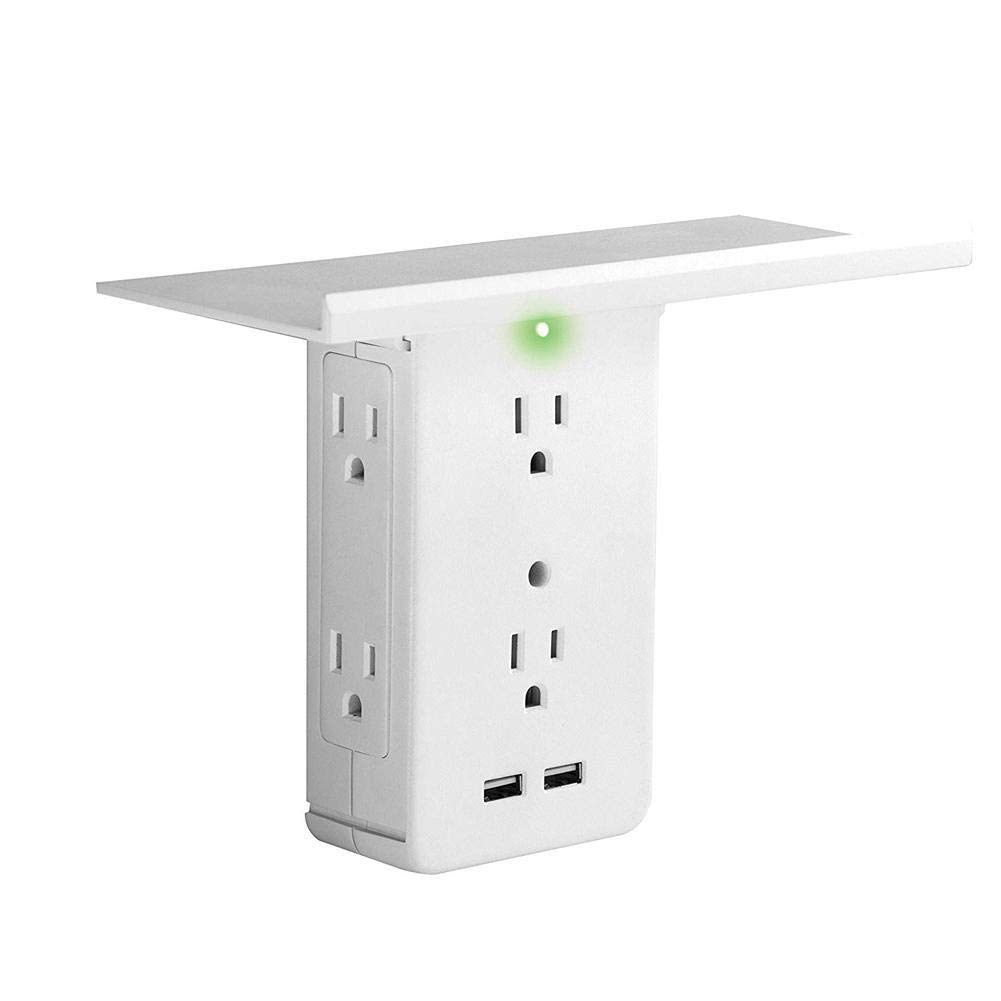 Sharper Image Socket Shelf 8Port Surge Protector 6 Wall Outlet Extender 2 USB by YPDF
