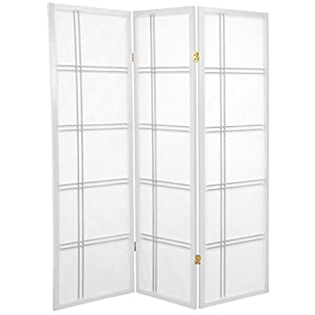 Oriental Furniture 5-Feet Cross Hatch Japanese Shoji Privacy Screen Room Divider, 3 Panel White DC60-WHT-3P