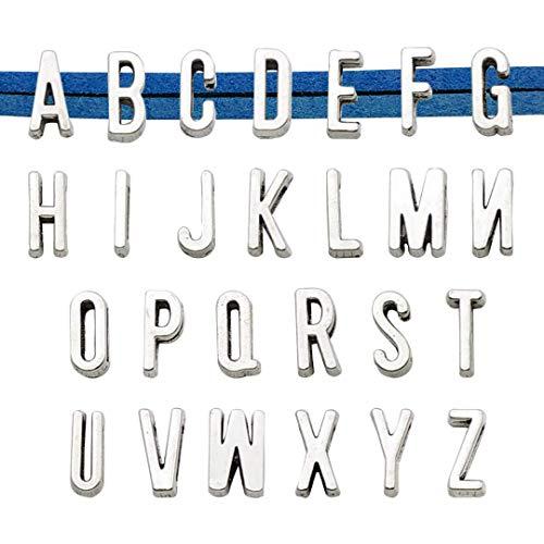 OBSEDE Alphabet Slide Letter Char Antique Silver Flat Leather Bracelet