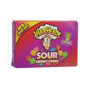 Warheads, Sour Chewy Cubes, Theater Box Style, 4oz Box (Pack of 12) by Impact Confections