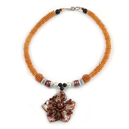 Avalaya Brown Shell Flower Pendant with Pale Orange Glass Bead Necklace - 38cm L