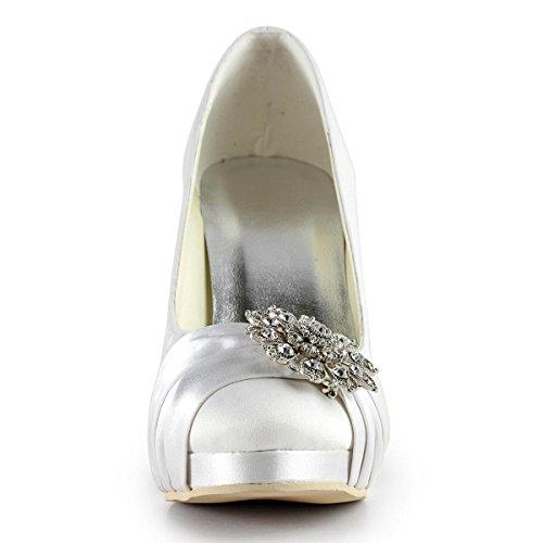 Mujer satén Vestir Blanco de de blanco Zapatos Elegantpark qxaAwSPS
