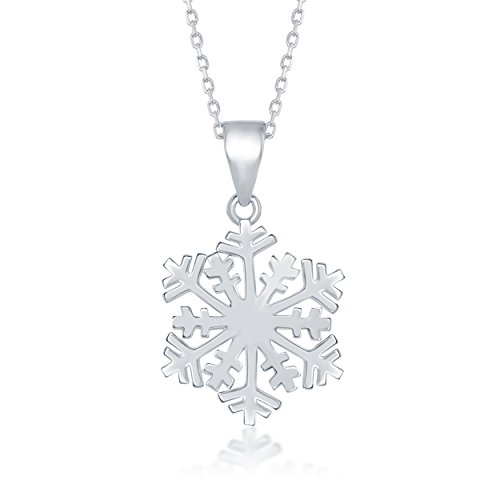 Beaux Bijoux Sterling Silver High-Polish Snowflake Pendant with 18