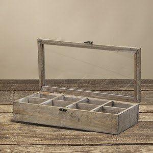 Caja de madera con tapa de cristal vintage caja con compartimentos: Amazon.es: Hogar