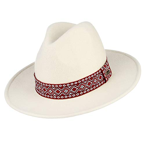(victoriasong Vintage 100% Wool White Hat for Women Felt Fedoras with Red Cap Wide Brim)