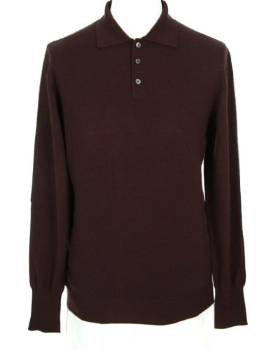 Shephe Men's Polo Cashmere Sweater with 3-button Chocolate Large Cashmere 3 Button