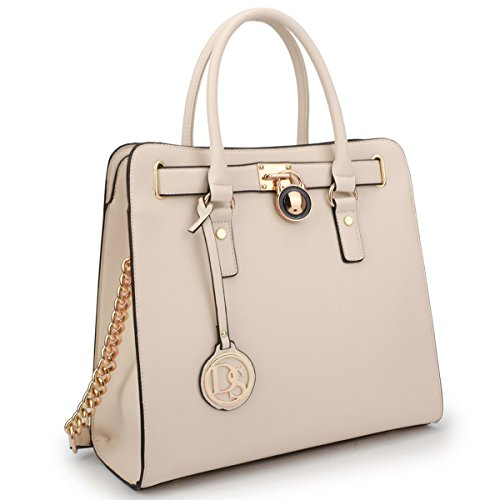 MKY Padlock Stripe Satchel Handbag Designer Purse Multicolor-Beige w/ Chain Shoulder Strap
