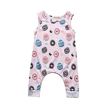 Kehen Cute Newborn Baby Girls Flower Animal Print Romper Bodysuit Outfits Spring Summer Tops (0/3M, Easter Eggs #2)