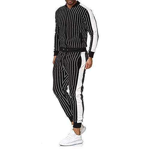 Men's Stripe Tracksuit Autumn Winter Casual Top+Pants Sets Sport Suit Black